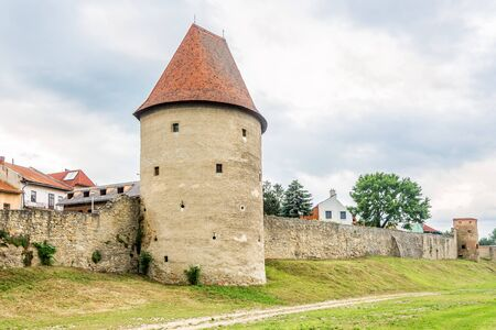 View at the Bastion with fortificaton wall in the streets of Bardejov, Slovakia