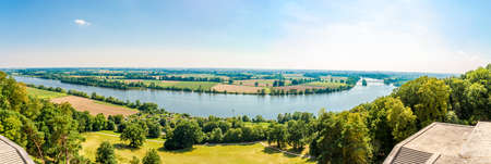 Panoramic view at Donau meander with nature from the Walhalla memorial near Regensburg in Germany