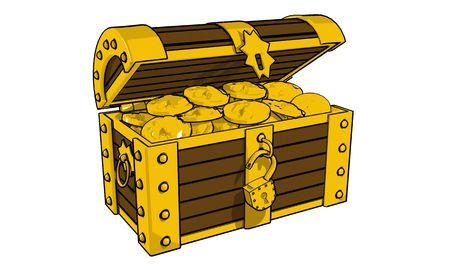 Chest full of gold coins (3d illustration)  illustration