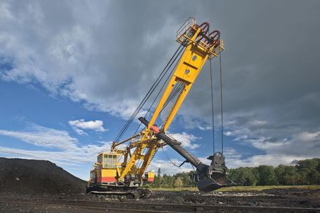 Mine excavator at worksite. Stock Photo