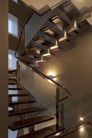 wooden stairs: Modern ladder from dark wood and frost glass