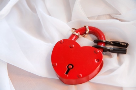 The padlock in the form of the heart with the keys and rings on it Stock Photo - 8621204