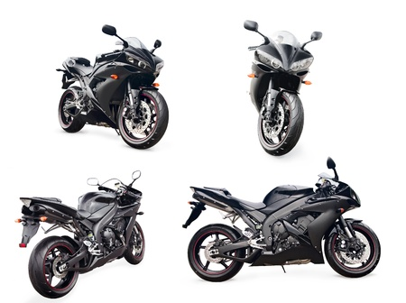 motorbikes: black sport bike on a white background in different perspectives Stock Photo