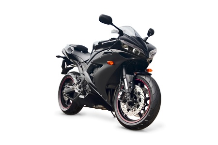 motorcycle wheel: black sport bike on a white background
