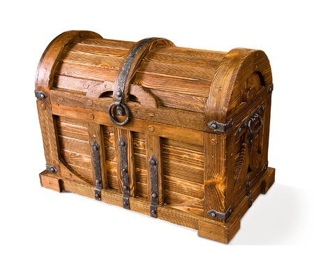 wooden chest on white background  Stock Photo
