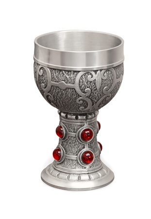 grail: Silver cup for wine with big red stones