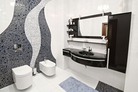 mosaic floor: the bathroom in black and white style and a beautiful mosaic