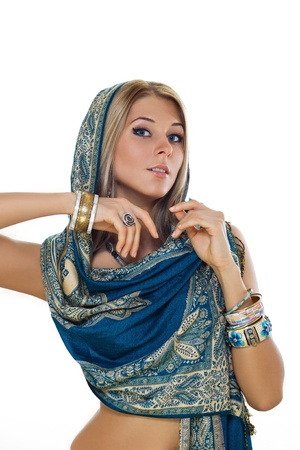 blonde in Indian jewelry and ethnic clothing photo