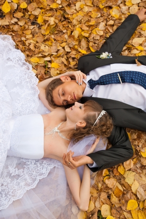 wedding theme, the bride and groom are in the maple leaves on grass Stock Photo - 14962014
