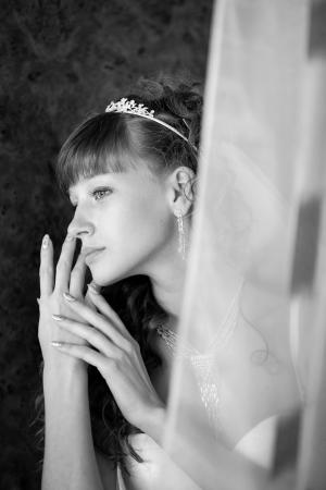 vackra brud med bröllop frisyr - bröllopsdag