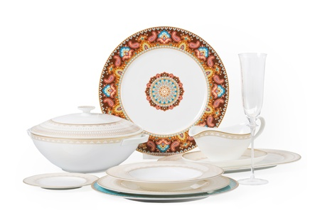 set of china consists of several dishes on a white background Stock Photo