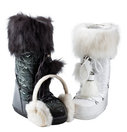 earmuffs: White and black boots on a white background
