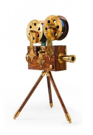 movie projector: souvenir antique film projector isolated on a white background