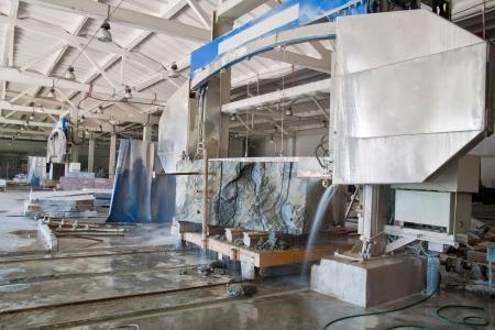 quarries: mechanical diamond blade saw cutting marble Stock Photo