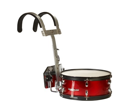 drum sticks: Close-up of a musical instrument, marching snare drum, isolated on white background.