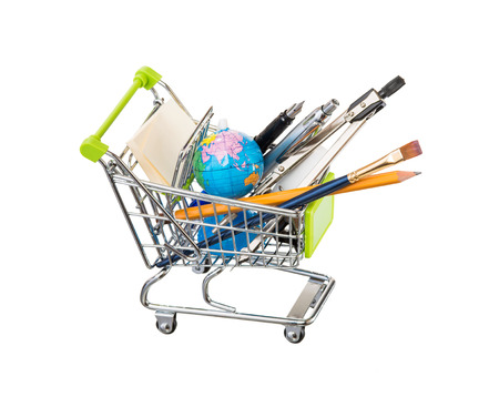 high resolution photo of trolley with school equipment on white background