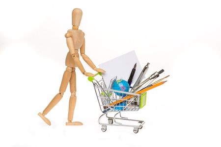 high resolution photo of trolley with school equipment on white background and grey card Stock Photo