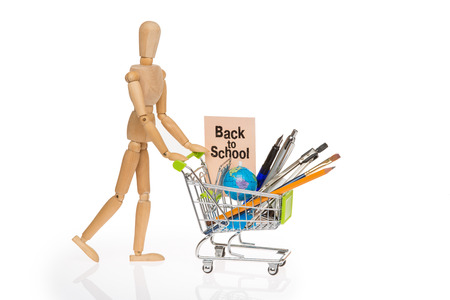 high resolution photo of trolley with school equipment on white background and a card with the words back to school