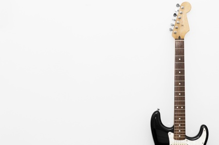 stratocaster: Black guitar, stratocaster on white background