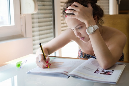 Beutiful young girl studying for exame Stock Photo - 19798170