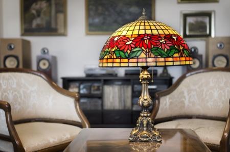 tiffany blue: Tiffany lamp on wooden table
