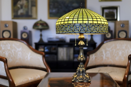 lamp shade: Tiffany lamp on wooden table