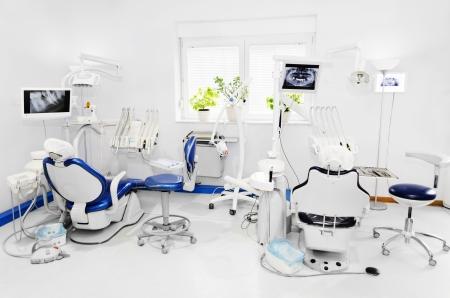 Dental office with blue dental chair Banco de Imagens