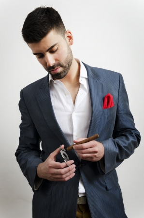 cigare: Businessman in a suit, smoking cigare