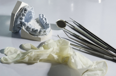 prothetic: Gypsum model plaster of tooth
