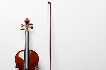 Close-up Of Vintage Violin on the wooden white table