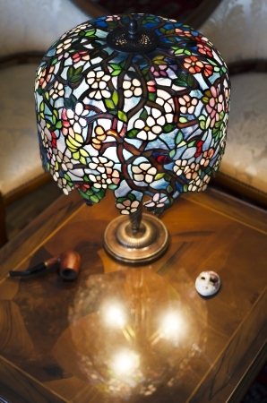 tiffany blue: Beautiful hand made lamp on wooden table