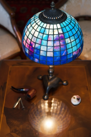lamp shade: Beautiful hand made lamp on wooden table