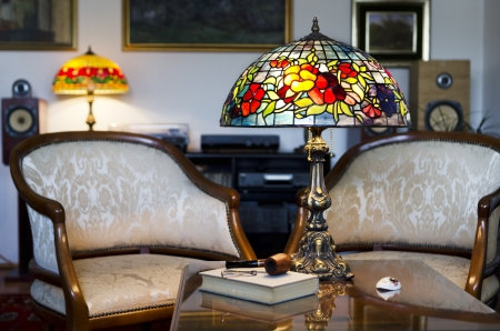 Beautiful hand made lamp on wooden table