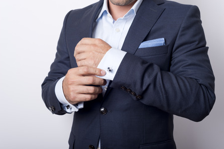 Mans style. dressing suit, shirt and cuffs photo
