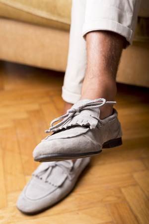moccasins: Mans style, moccasins shoes Stock Photo