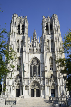 michael: St. Michael and St. Gudula Cathedral - Brussels, Belgium Stock Photo