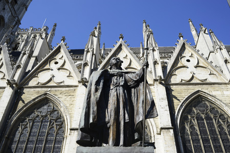 michael: Brussels - cardinal Mercier statue by st. Michaels cathedral Stock Photo