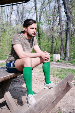 hansome: Hansome man in park, workout, resting on the bench