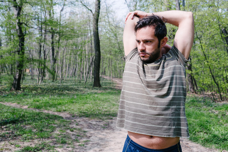hansome: Hansome man in park, workout