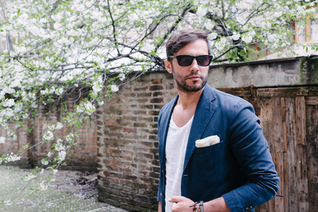 white suit: Young handsome man in casual style clothing