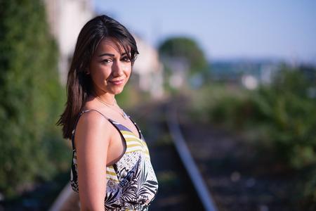 natural looking: Beautiful brunette outdoors, natural looking girl