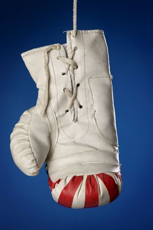 knockdown: boxing glove Stock Photo