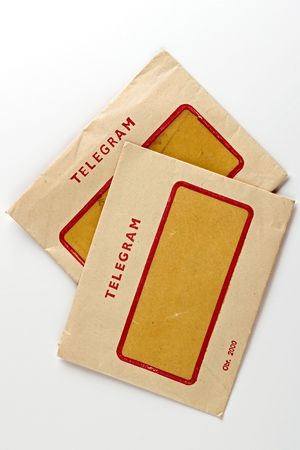 telegram: two vintage telegram envelops Stock Photo