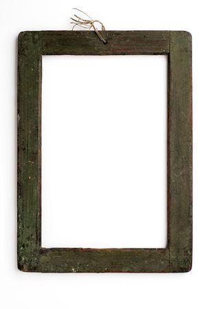 old wooden frame on white photo