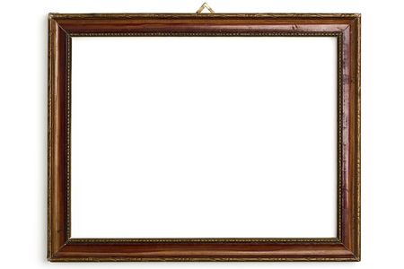old wooden frame on white photo