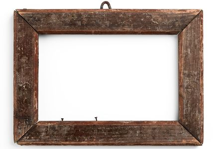 enclosed: old wooden frame on white