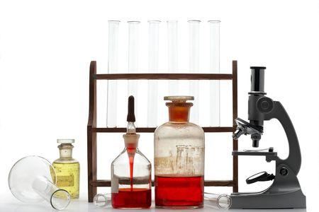 elementos de laboratorio - microscopio, tubos de ensayo, etc  Foto de archivo - 935745