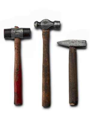 peen: three hammers: ball peen, rubber and carpenters Stock Photo