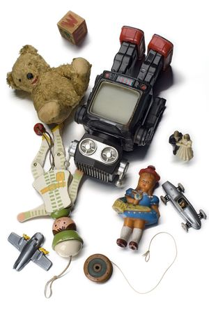 plaything: old toys on white