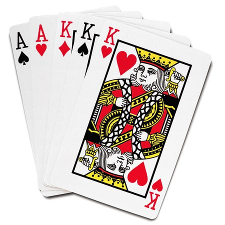 house of cards: playing cards - full house, poker hand - on white